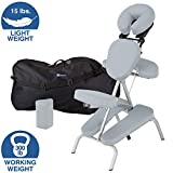 EARTHLITE Portable Massage Chair Package VORTEX - Portable, Compact, Strong and Lightweight incl. Carry Case, Sternum Pad & Strap (15lbs), Sterling