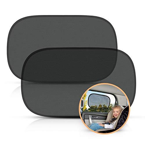Sonnenschutz Auto - Sonnenschutz Auto Baby mit UV Schutz (2er Set) Sonnenblende Auto Sonnenblende für Seitenfenster Auto Sonnenschutz Baby (Schwarz)
