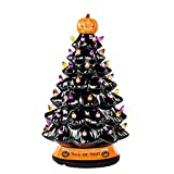RJ Legend 15-Inch Halloween Decorations Ceramic Tree - Over 50 Multicolor Bulbs Halloween Tree – Handcrafted and Hand Painted – Glossy Finish – Pumpkin Top and Trick or Treat Bottom