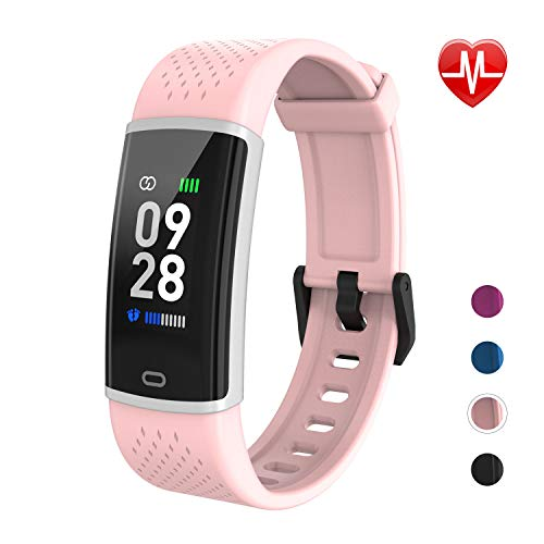 Fitpolo Fitness Watch Activity Tracker with Heart Rate Monitor Calorie Step Counter, Sleep Monitoring Pedometer Waterproof Smart Bracelet for Women Men Kids(Pink)
