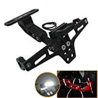 Heavy quality CNC Adjustable Angle License Number Plate Frame Holder Tail Tidy Strong structure, with fine workmanship + high strength, solid and long life span. Simple installation, and easy to install. UNIVERSAL FOR ALL BIKE