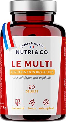 Multivitamines et Minéraux 27 Nutriments • Quercétine, Vitamines A, B, C, D3, E, K2 Bio-Actives • Minéraux Haute Absorption • Complexe Vitalité Homme/Femme • 90 Gélules Fabriquées en France • Nutri&Co