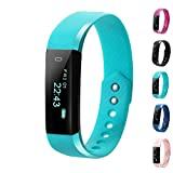 Fitness Tracker, LCStream Smart Watch Health Bracelet Activity Tracker with Step track, Calories track, Sleep monitor, pedometer for iOS and Android (Light Blue)