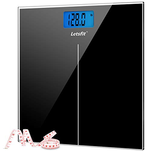 Letsfit Digital Body Weight Scale, Bathroom Scale with Large Backlit Display, Step-On Technology, High Precision Measurements, 400 Pounds 180kg Max, 6mm Tempered Glass, Included Body Tape Measure