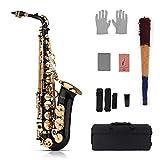 Muslady Mib Saxophone Alto Sax Laiton Laqué Or 82Z Clé Instrument à vent à vent avec étui de transport rembourré Gants Nettoyage Chiffon Brosse Anneaux Sax