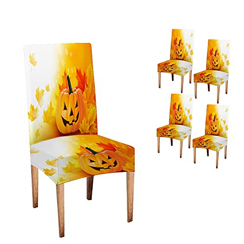 Pamime Chair Covers for Dining Room Set of 4 Farmhouse Dining Chair Slipcover Scary Halloween Pumpkin Leaves Outdoor Dining Chair Slipcovers