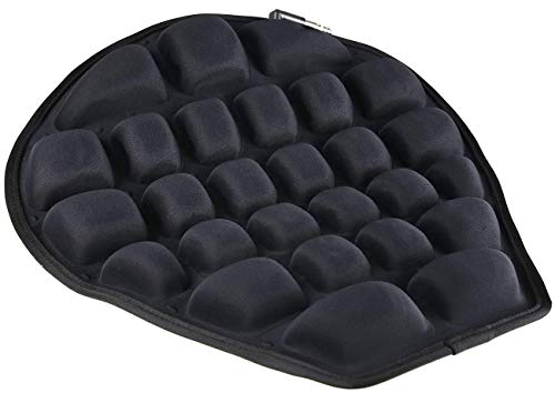 HOMMIESAFE Air Motorcycle Seat Cushion Water Fillable Cooling Down Seat Pad,Pressure Relief Ride Motorcycle Air Cushion Large for Cruiser Touring Saddles (Black)