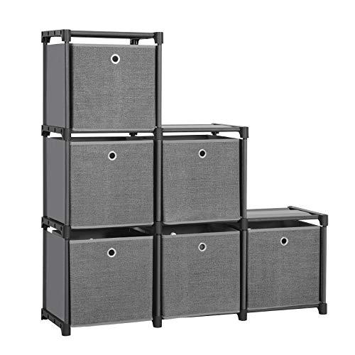 SONGMICS LSN66BK-Scaffale a 6 cubi con 6 scatole di Stoffa, per Fai da Te, Multifunzionale, con...