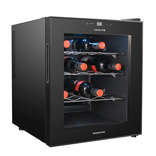 IKOHS VINARIAM WOOD 1600 Cantinetta vino con 16 bottiglie, 46 l, 70 W, luce LED, display digitale,...