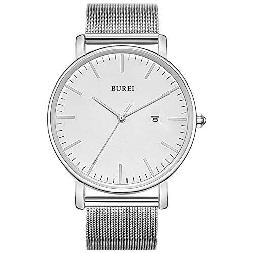 BUREI Stilvolle Minimalistische Ultra Slim Herren Uhr Weiß Datum Großes Gesicht Armbanduhr mit Edelstahlband