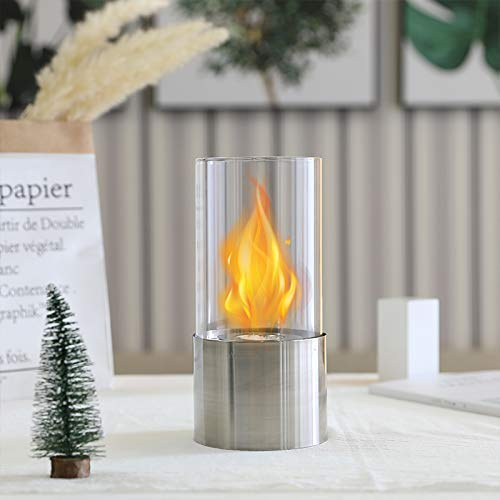 Silver Base Fire Bowl Bio Ethanol Fuel with Glass Tube Tabletop Fireplace for Balcony Meeting Room Living Room Home Indoor Outdoor