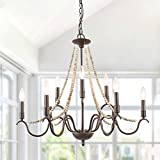 "LALUZ French Country Chandeliers Wood Beads Kitchen Island Lighting for Dining Living Room, 28"" L x 25.5"" H, Bronze"