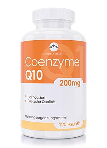 100% vegan und hochdosiert mit 200mg Coenzym Q10 pro Kapsel - 120 Kapseln von Alparella Elements - hergestellt in Deutschland