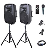 PRORECK PARTY 15 Portable 15-Inch 2000 Watt 2-Way Powered PA Speaker System Combo Set with Bluetooth/USB/SD Card Reader/FM Radio/Remote Control/LED Light