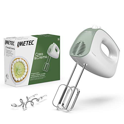 Imetec Crea & Crema Handrührer extra lange Schneebesen für süße Teige und Schlagsahne, Knethaken aus Edelstahl, 5 Geschwindigkeiten, Turbofunktion, ergonomisches Design, 500 W.