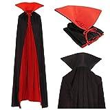 Vampire Cape Capuche Adultes Col Montant Manteau Noir Rouge 170cm