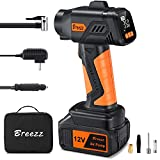 Breezz Tire Inflator Air Compressor, 12V Cordless Car Tire Pump with Digital Pressure Gauge, Portable Air Pump with 2500mAh Rechargeable Li-ion Battery and Car Power Cord