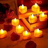 12 Pièces Bougies Chauffe-Plat LED en Forme de Coeur Bougies LED Amour...