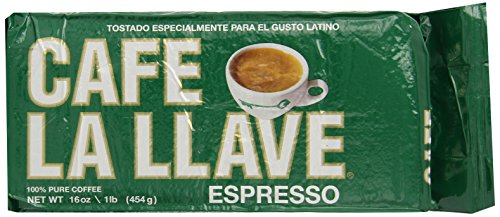 Caf La Llave Espresso 100% Pure Coffee, Dark Roast Espresso, 16 Ounce Brick