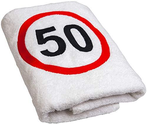 Abc-Casa - Toalla de 50 cumpleaños con señal de tráfico b