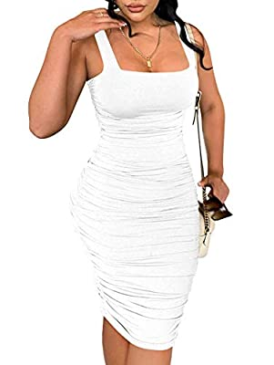 Feature:square neck,backless knee length midi dress,Ruched both side that you can adjust the length.hugs your curves,fit like a glove Material:polyester and spandex,soft super comfortable and very stretchy Feature:square neck,backless knee length mid...