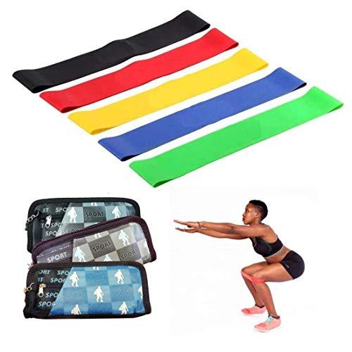 Ducomi Elastici Fitness per Resistenza - Set di 5 Bande Elastiche per Fitness, Yoga, Pilates e Crossfit - Fasce di Resistenza in Silicone Naturale