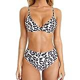 RUUHEE Women Leopard Print High Waisted Cheeky 2 Piece Bikini Bathing Suits (S(US Size 2-4),Leopard)