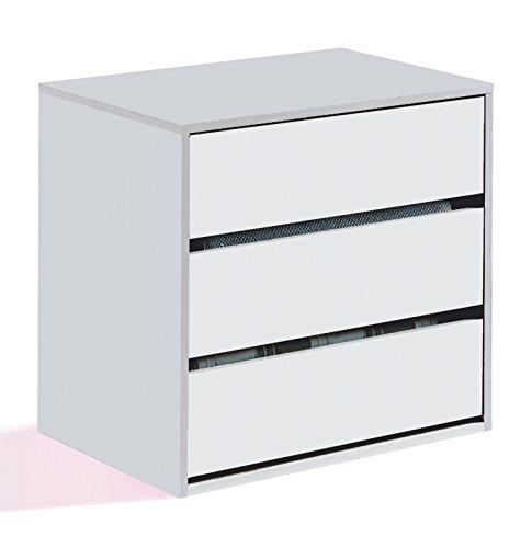 Esidra Cassettiera com 3 cassetti, Legno Bianco, 60 x 57 x 44 cm