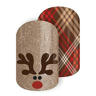 RUDOLPH ROUNDUP Jamberry Nail Wraps Christmas Plaid Nail Art Half Sheet