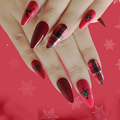 Harosy Matte Long Press on Nails Red Stiletto Fake Nails Christmas Full Cover Acrylic Nails for Women and Girls 24Pcs (Elegant)