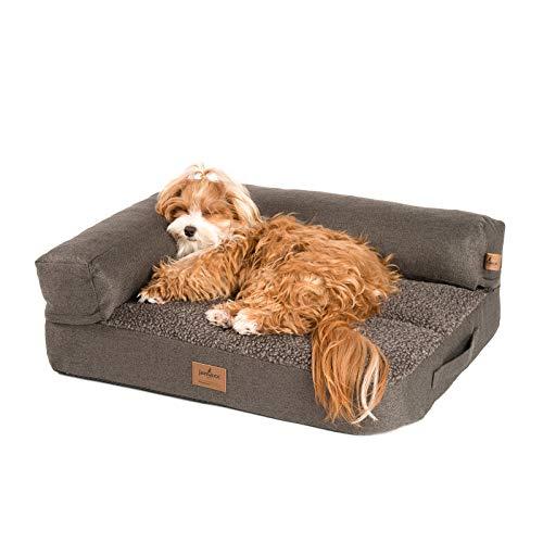 JAMAXX - Divano per cani 2 in 1 ortopedico Memory Visco, imbottitura rimovibile, lavabile, morbida pelliccia d'agnello/sherpa, 65 x 50 cm, colore: Marrone