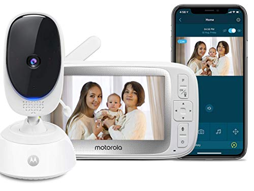 """Motorola Connect40 Wireless Family Video Monitor – 5"""" Parent Unit and HD WiFi for Baby, Elderly, Pet – Remote Pan Scan, Digital Zoom/Tilt, Two-Way Talk, Night Vision, Temp Sensor, Hubble App"""