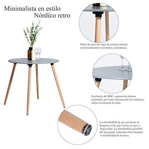 FurnitureR Mesa de Comedor Redonda para 4 Personas Réplica Eames para Salón, Cocina, Café, Restaurante, Hotel