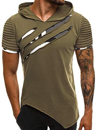 Ekaliy Mens Fashion Short Sleeve Hoodies Casual Solid Color Slim...