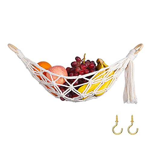 DEWECHO Macrame Fruit Hammock Under Cabinet - Banana Hammock for...