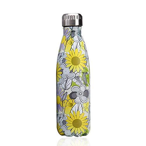 Bottiglia con doppio strato in acciaio inox,portatile BPA free Bottiglia,viaggio per sport senza perdite costruita per non far formare condensa puoi bere sia bevande calde che fredde 17oz,Girasole