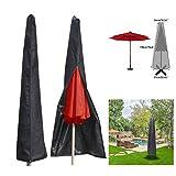 Essort Couverture pour Parasol Imperméable, Housses pour Parasols de Jardin en 210T Polyester, Housse de Protection pour Parasol Adapté pour Parasol de Jardin de 1,8 à 3.35 m, 190 × 57 × 26 cm, Noir