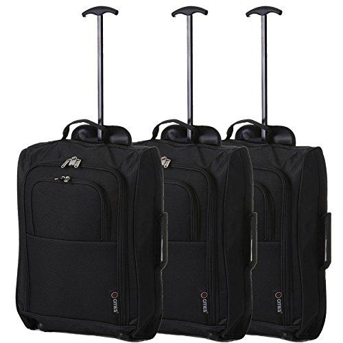 5 città Trolley Cabin Carry, 55 cm, 42 litro, nero, set di 3