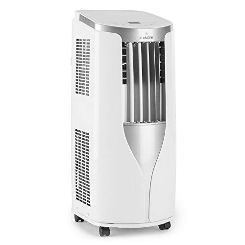 Klarstein New Breeze 7 - Condizionatore Portatile, 3-in-1: Raffrescatore, Deumidificatore, Ventilatore, 7.000 BTU/2,1 kW, Locale: 21-34 m, 4 Rotelle, Timer, Telecomando, Bianco