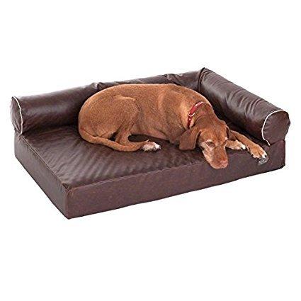 Cane divano in ecopelle marrone confortevole in schiuma memory per un dolore libero resto