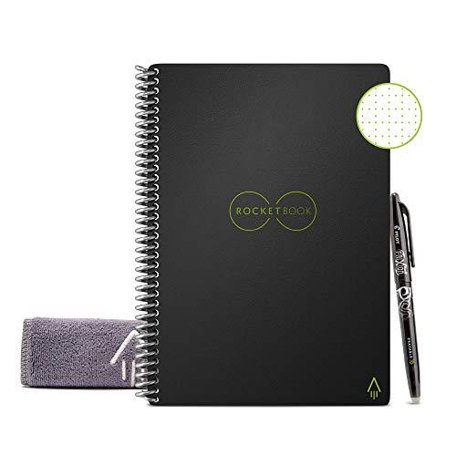 Rocketbook Cuaderno Digital Inteligente Core Diario Reutilizable - Negro, Punteado, Executive A5