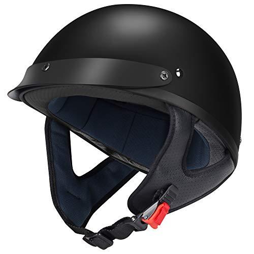 GLX Unisex-Adult Size M15 Fiberglass Scooter Chopper Motorcycle Half Face Helmet DOT Approved (Matte Black, X-Large)