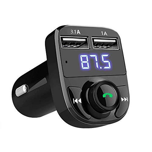 Generic1 Chargeur de Voiture pour appels Mains Libres, transmetteur FM Bluetooth sans Fil, récepteur Radio, MP3, Adaptateur Audio stéréo, Double Port USB, Chargeur Compatible avec Tous Les (1 PC)