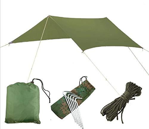Lawei Zeltplane Camping Tarp für Hängematte Wasserdicht Winddicht Strandzelt Regenschutz Sonnenschutz Plane Tragbar Leicht, 300 x 300 cm, Grün