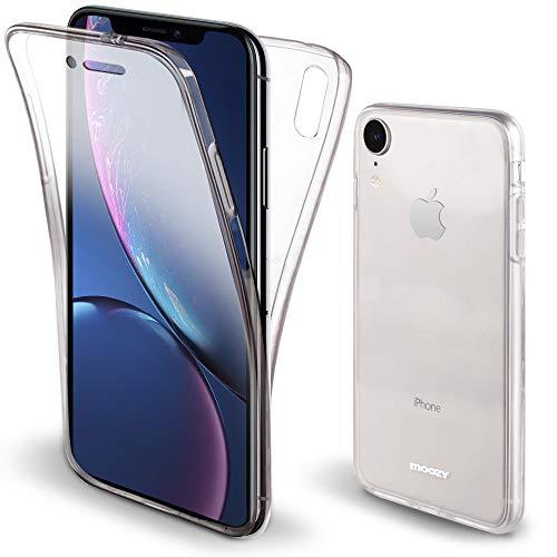 Moozy Cover Protezione 360 Gradi per iPhone XR Silicone Trasparente - Full Body Custodia TPU Case Copertura Completa