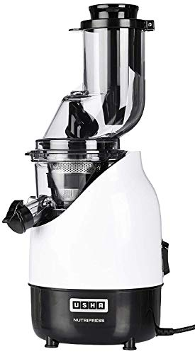 Usha CPJ 382F NutriPress Cold Press Juicer with Full Mouth Feeding Tube, 200 Watt (Black & White)