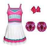 MSSmile Cheerleader Costume for Girls Girls Costume Cheerleader Halloween Toddler Girls Outfit Dress (5-6T, White)