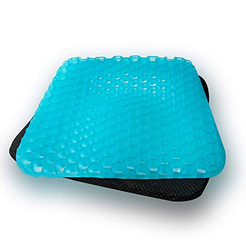 Jumix Gel Chair Seat Cushion - Memory Foam Breathable Chair Seat Honeycomb Crate Design Absorbs Pressure Points for Relief Sciatica, Back, and Tailbone Pain (Silicon, Blue, With Black Doted Cover)