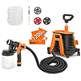 TACKLIFE Paint Sprayer With 1200W High Power, 2pcs 1200ml Containers Electric Spray Paint Gun Supporting 150 Din-s Viscosity And 1100ml/Min Flow Speed, Light, Long Use Distance - SGP17AC
