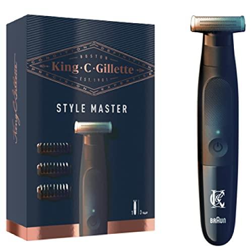 King C. Gillette Style Master, Regolabarba Uomo Senza Fili Per Regolare, Rifinire E Radere La Barba Incolta Con Lama 4D E 3 Pettini Da 1, 3, 5 mm